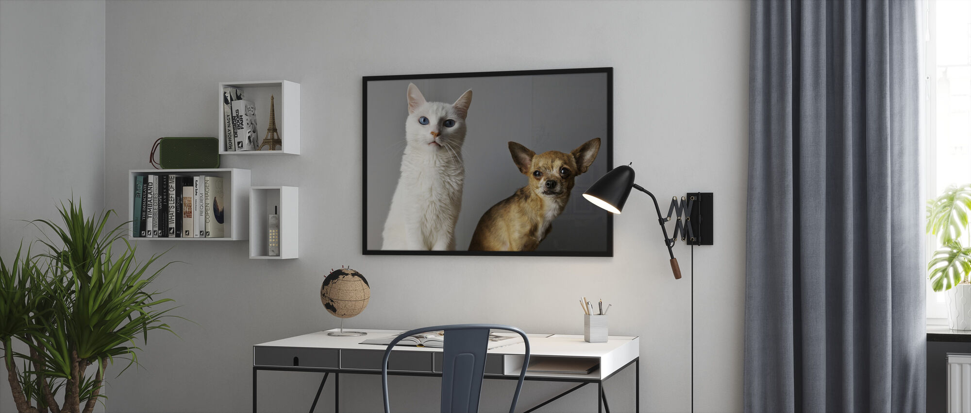 Duo of Cat and Dog - Framed print - Office