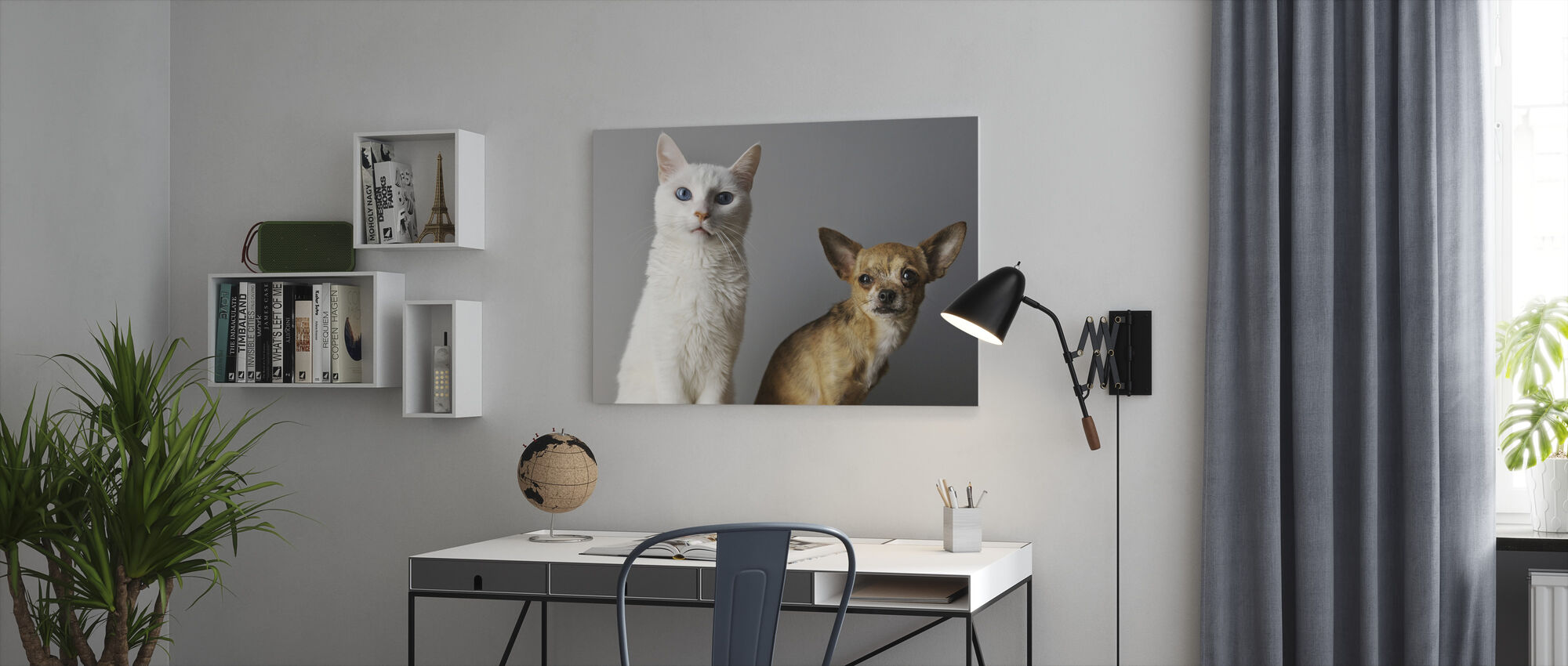 Duo of Cat and Dog - Canvas print - Office
