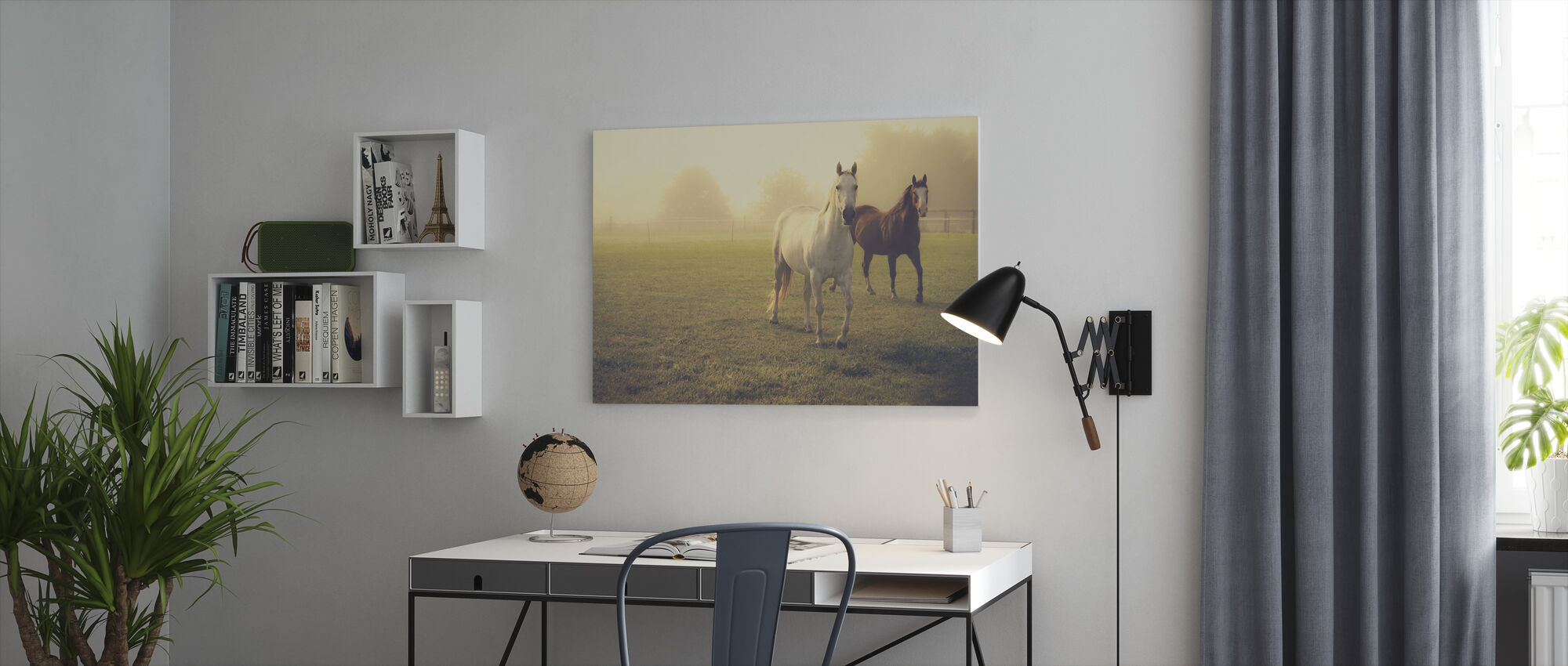 Quarter Horses in Morning Fog - Canvas print - Office