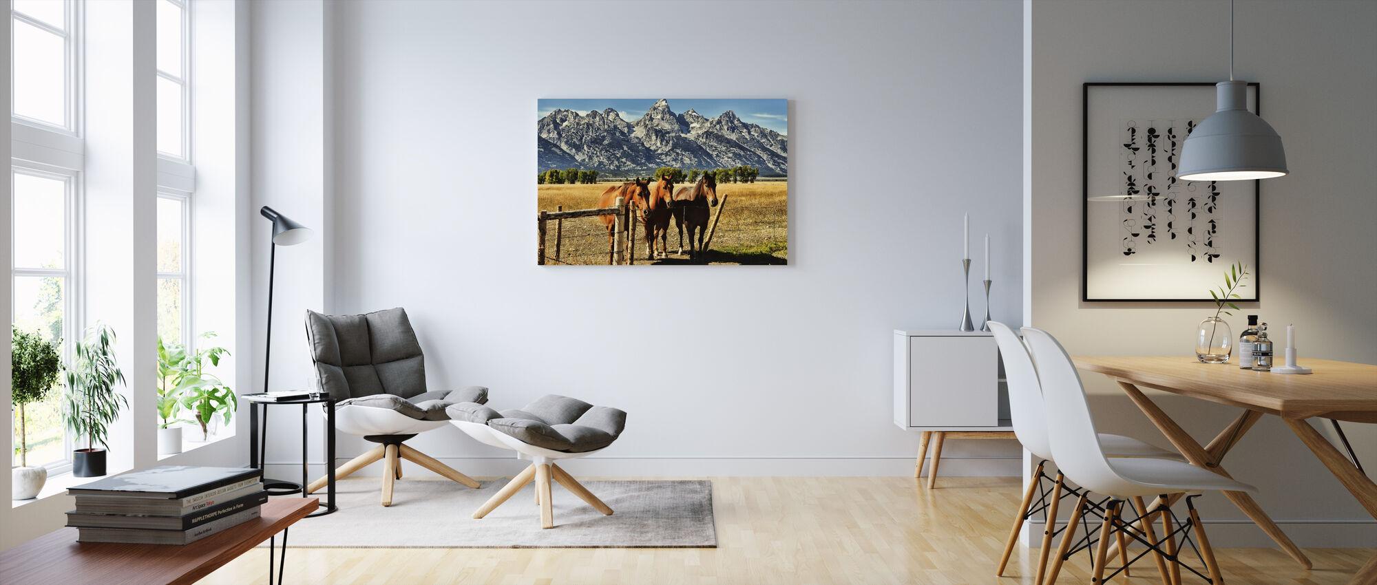 Trio in front of Teton Mountain Range - Canvas print - Living Room
