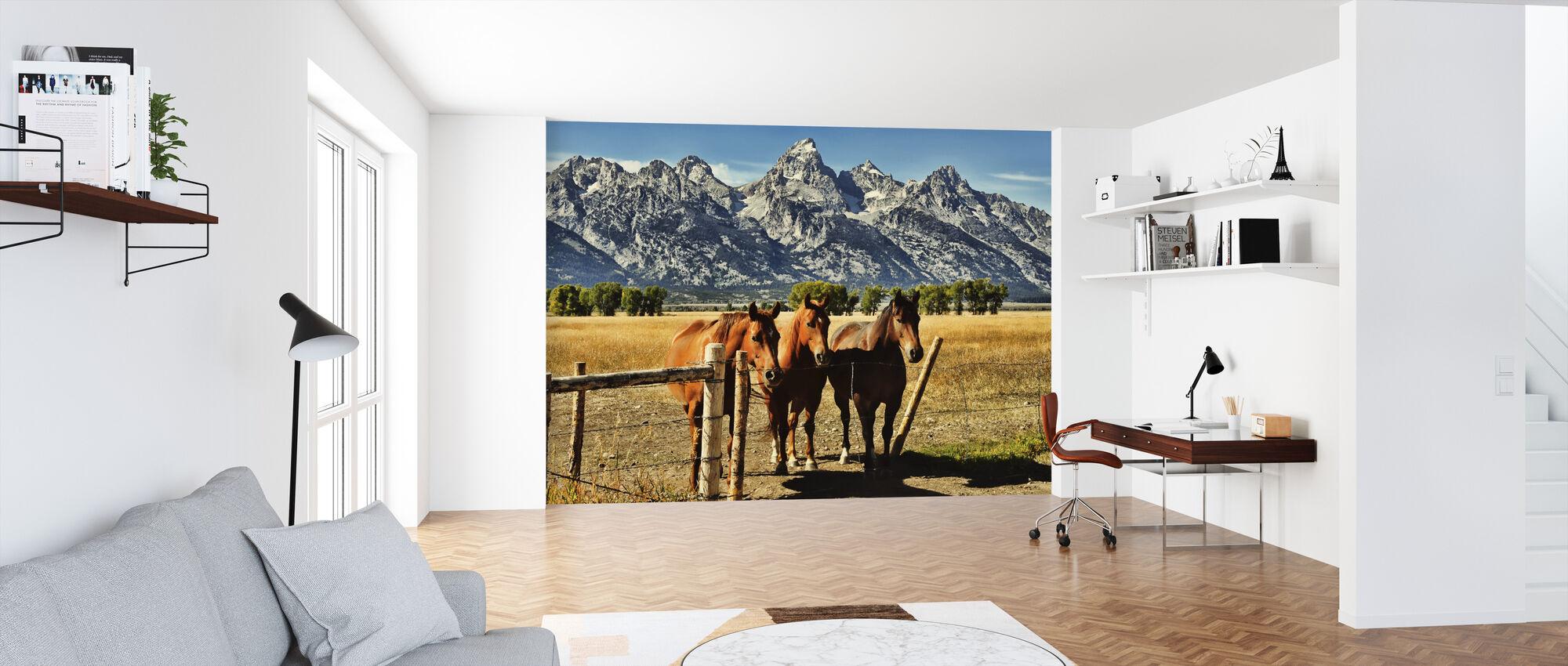 Trio foran Teton bjergkæde - Tapet - Kontor