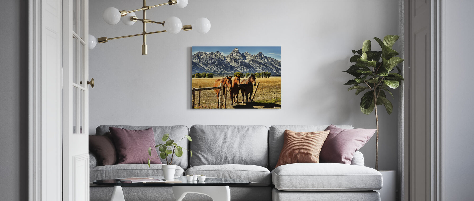 Trio in front of Teton Mountain Range - Canvas print - Living Room