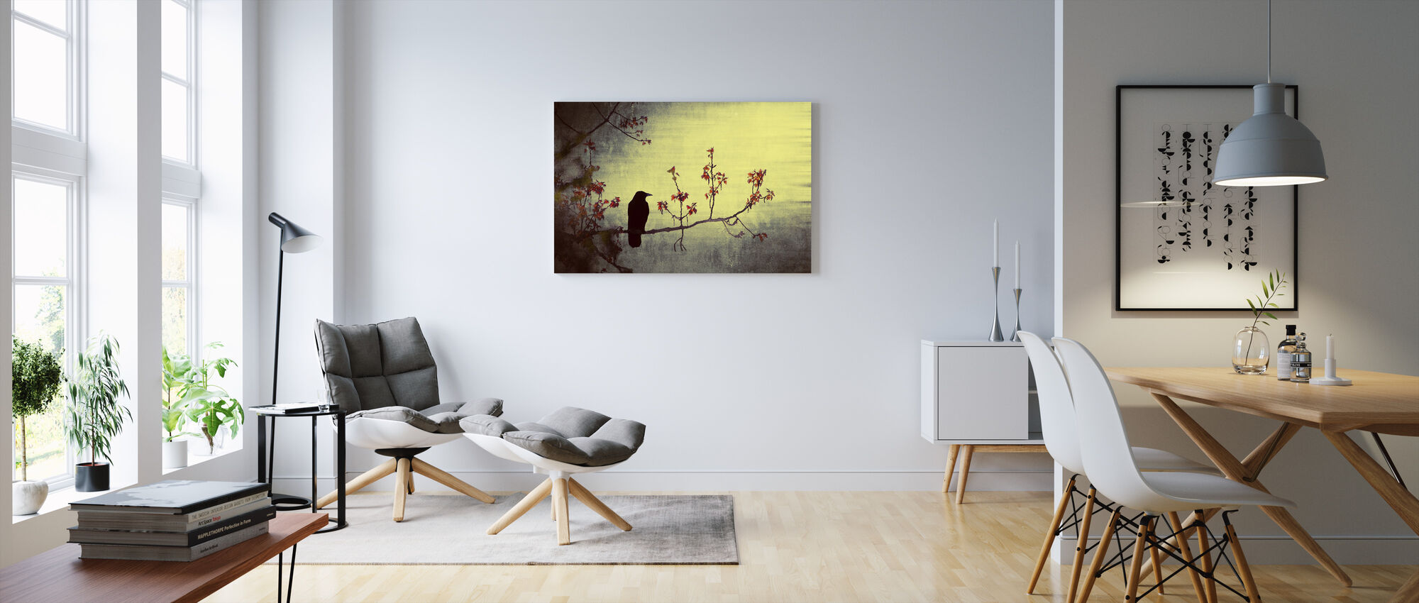 Crow on Flowering Branch - Canvas print - Living Room