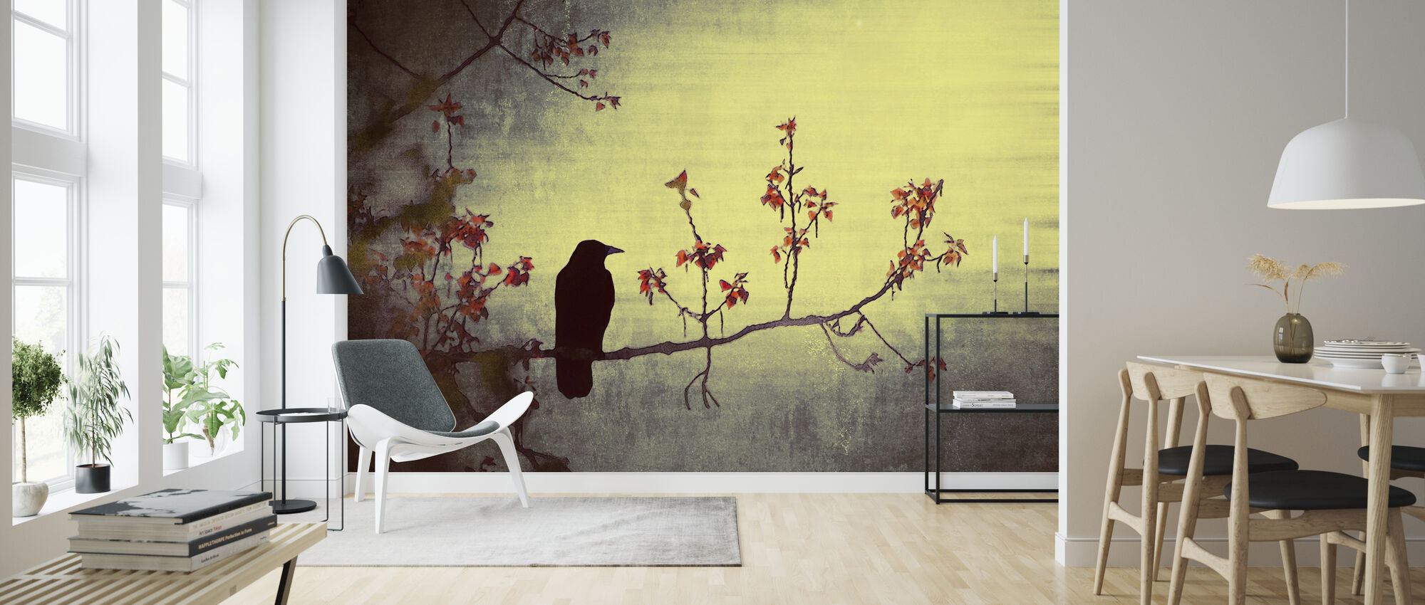 Crow on Flowering Branch - Wallpaper - Living Room