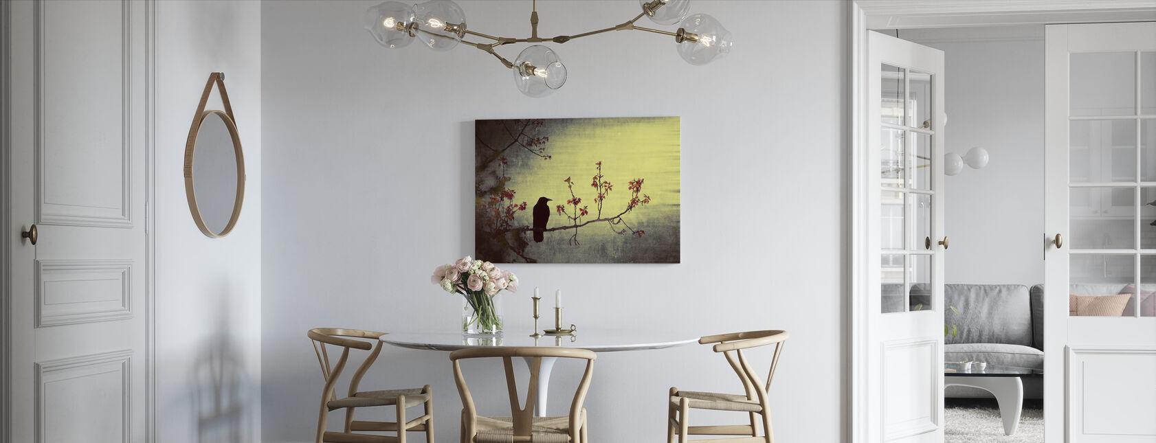 Crow on Flowering Branch - Canvas print - Kitchen