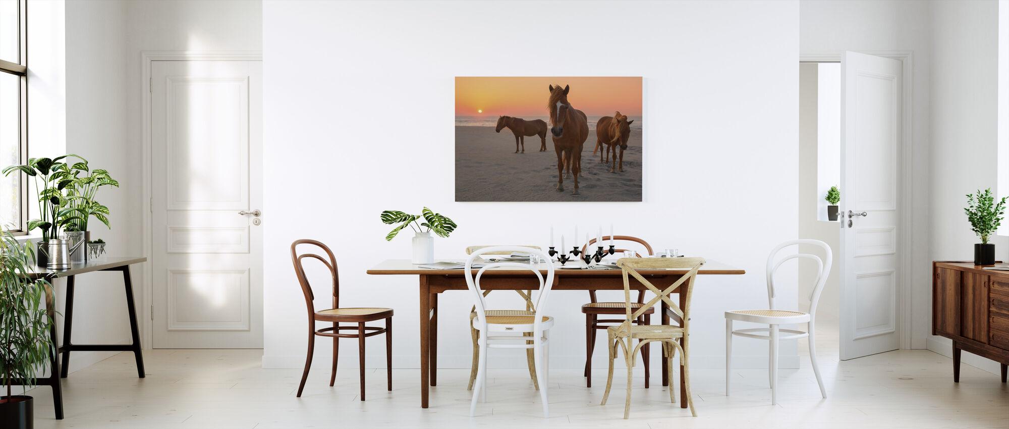 Chestnut Horses on Sunset Beach - Canvas print - Kitchen