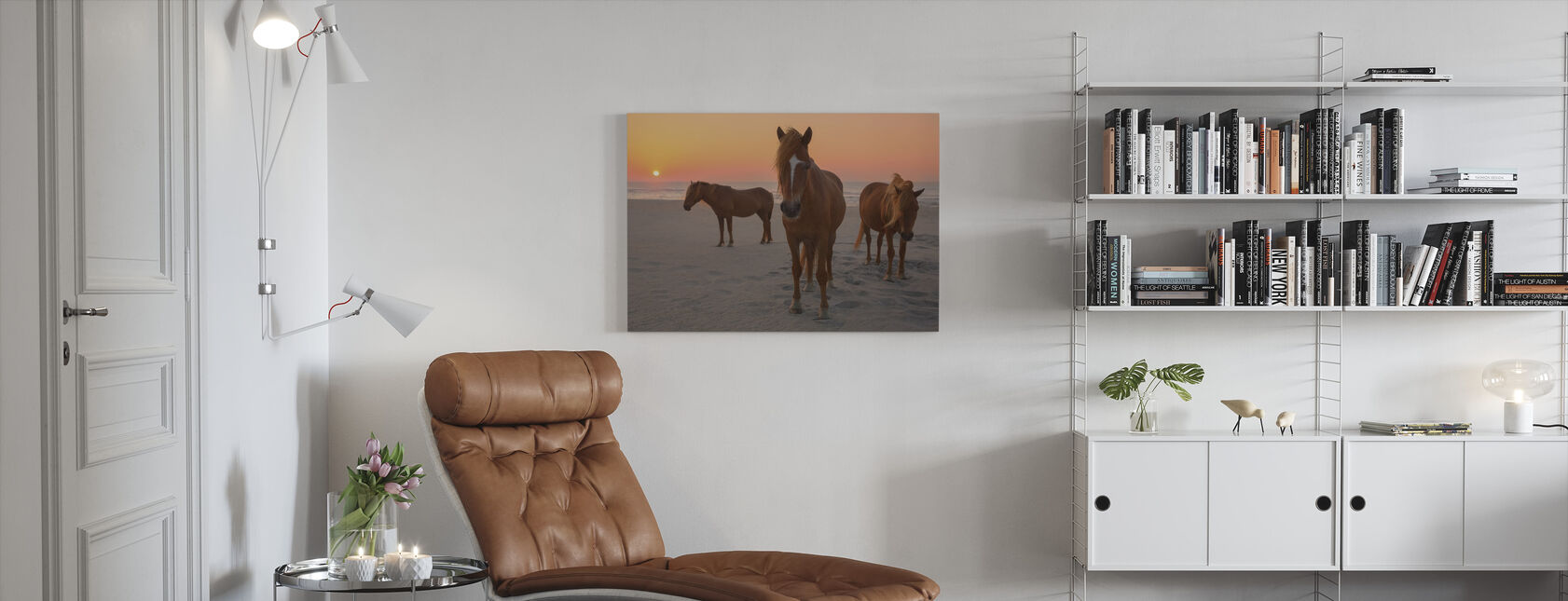Chestnut Horses on Sunset Beach - Canvas print - Living Room