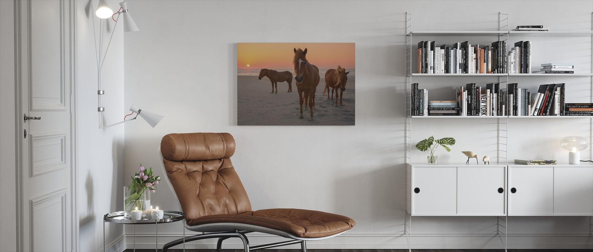Chestnut Horses on Sunset Beach - Canvas print - Living Room