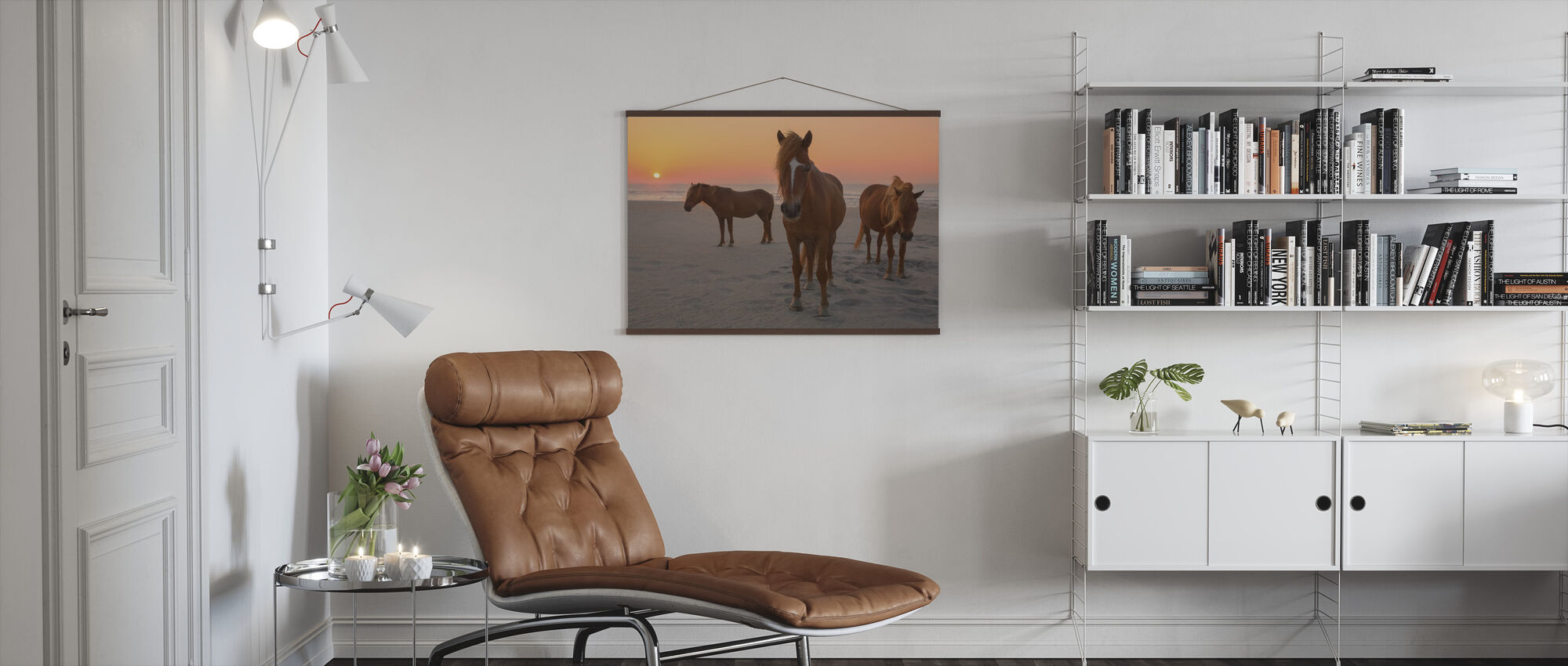 Chestnut Horses on Sunset Beach - Poster - Living Room