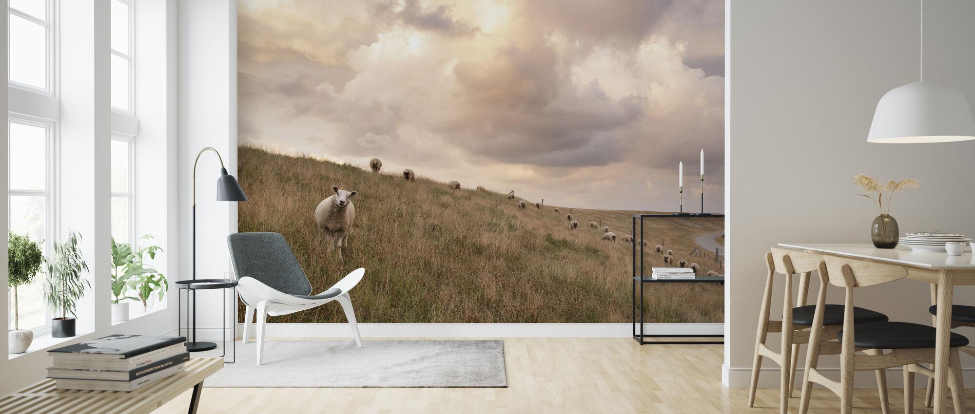 Attentive Sheep - Wallpaper - Living Room
