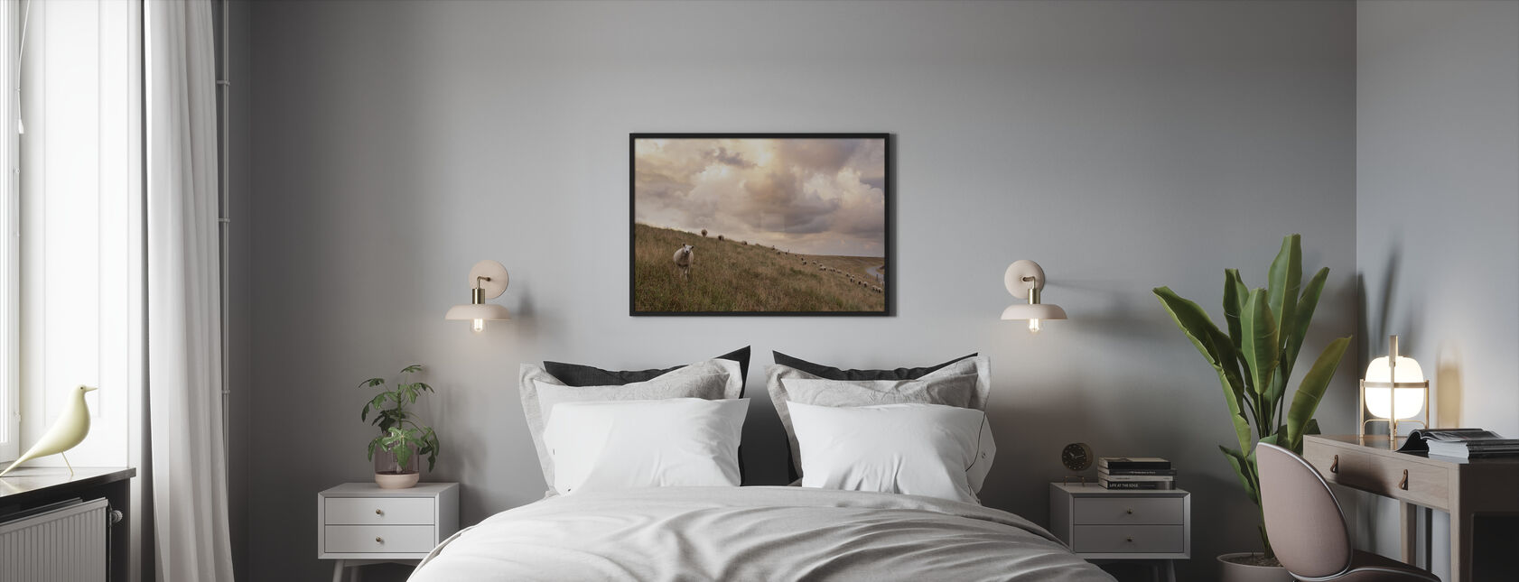 Attentive Sheep - Framed print - Bedroom