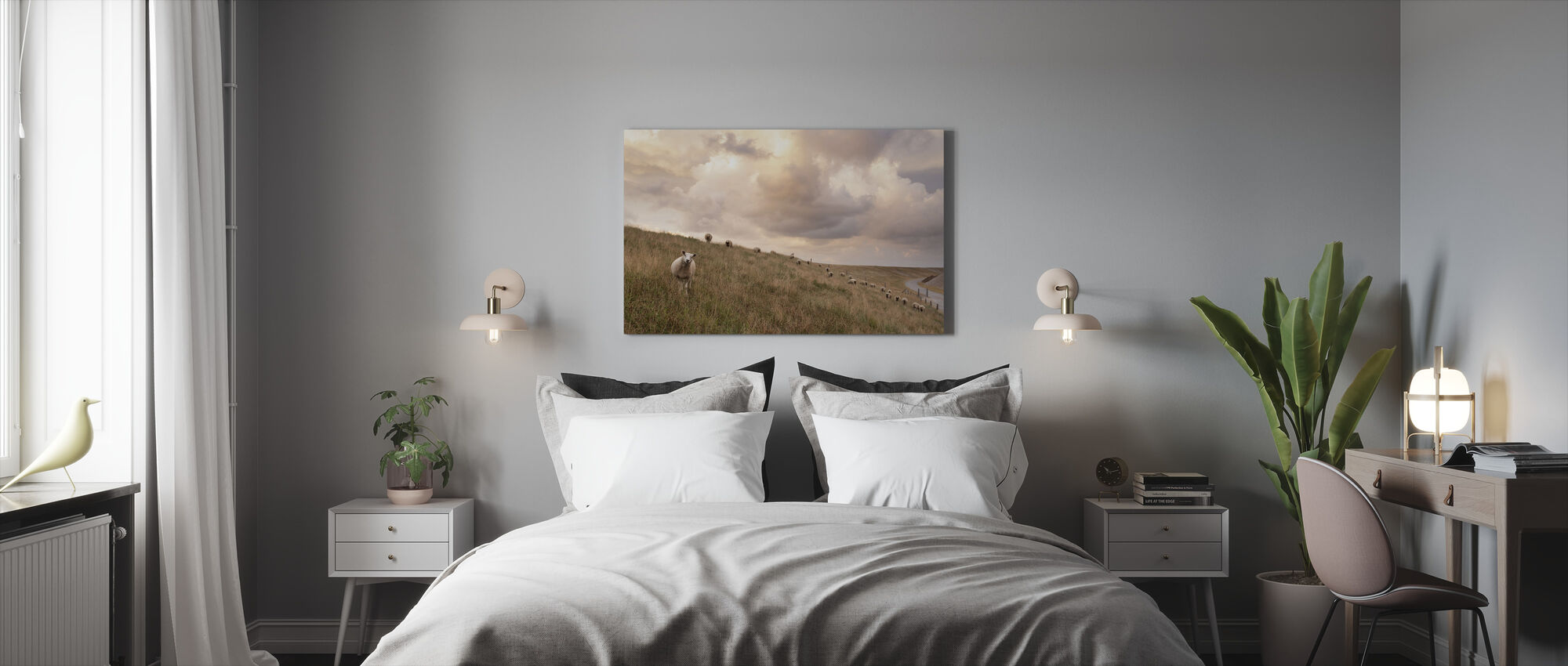Attentive Sheep - Canvas print - Bedroom
