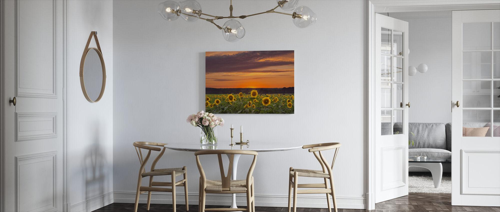 Sunset over Sunflowers - Canvas print - Kitchen