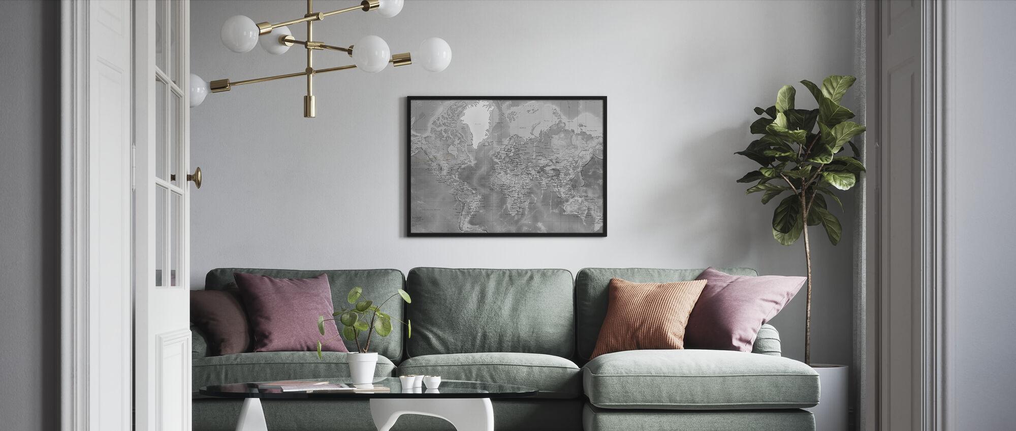Världskarta Detaljerad - Grå - Inramad tavla - Vardagsrum