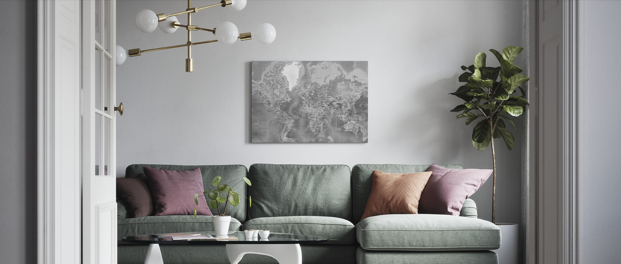 World Map Detailed - Grey - Canvas print - Living Room