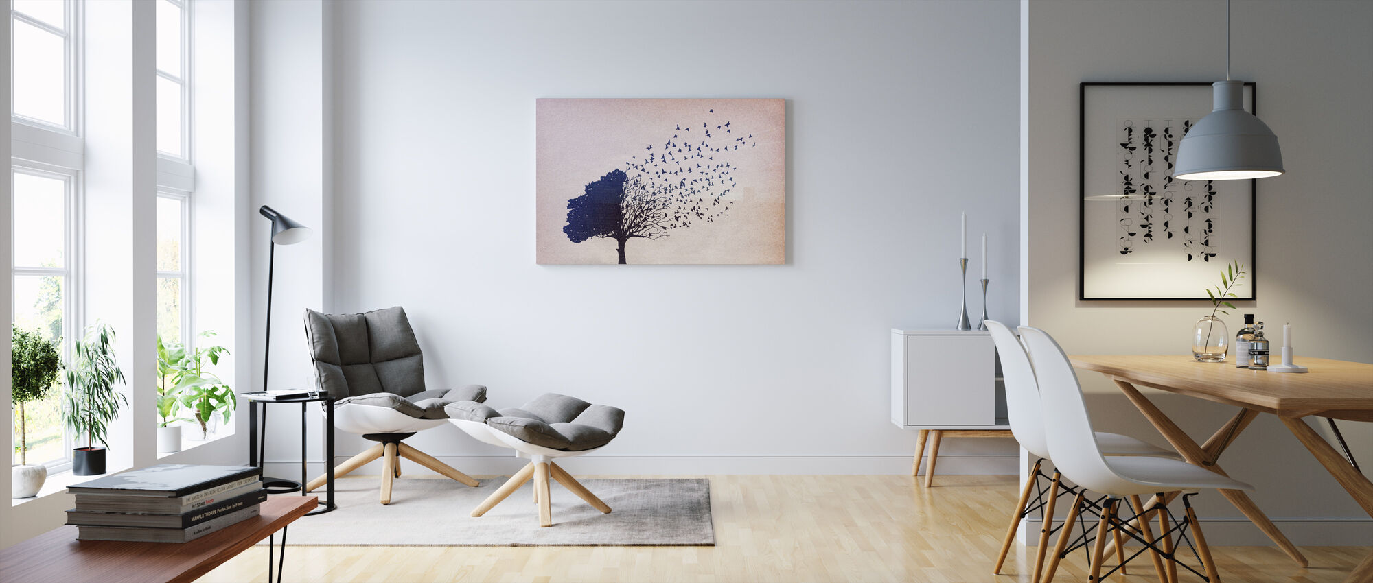 Birds Leaves - Canvas print - Living Room