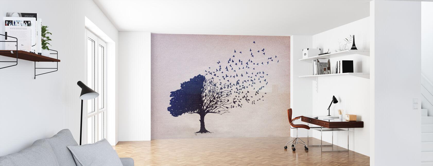 Vögel Blätter - Tapete - Büro