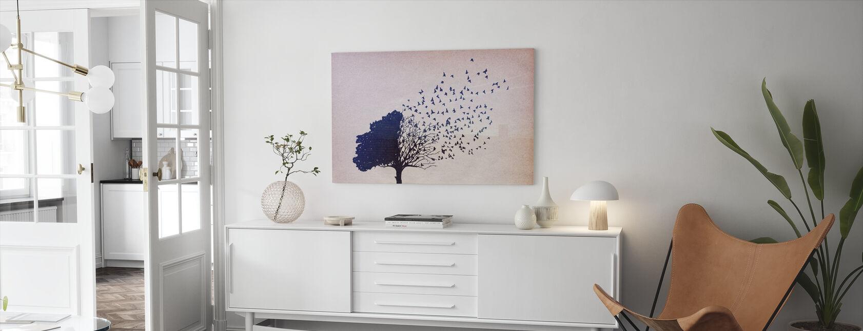 Vögel Blätter - Leinwandbild - Wohnzimmer
