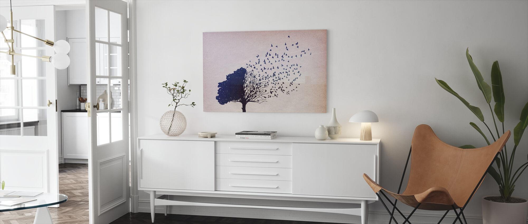 Vogels Bladeren - Canvas print - Woonkamer