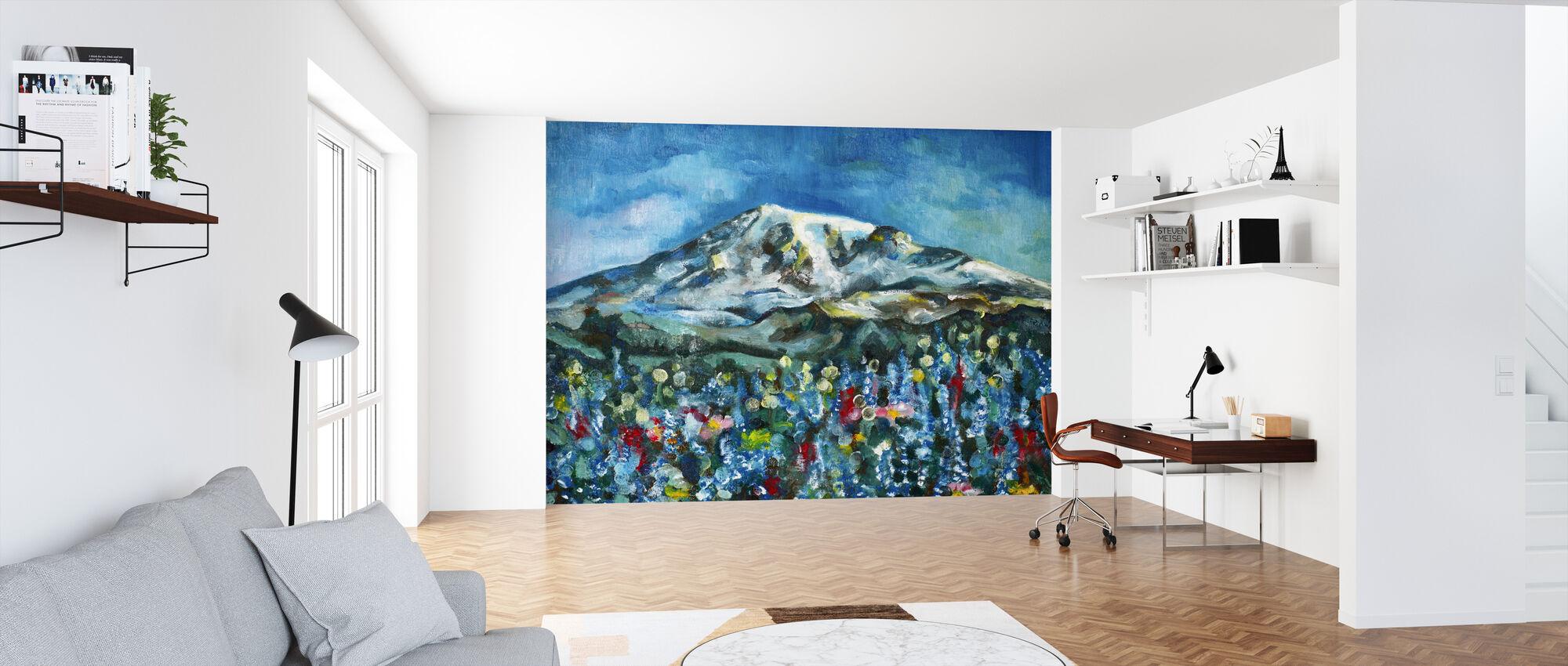 Mount Rainier olieverfschilderij - Behang - Kantoor