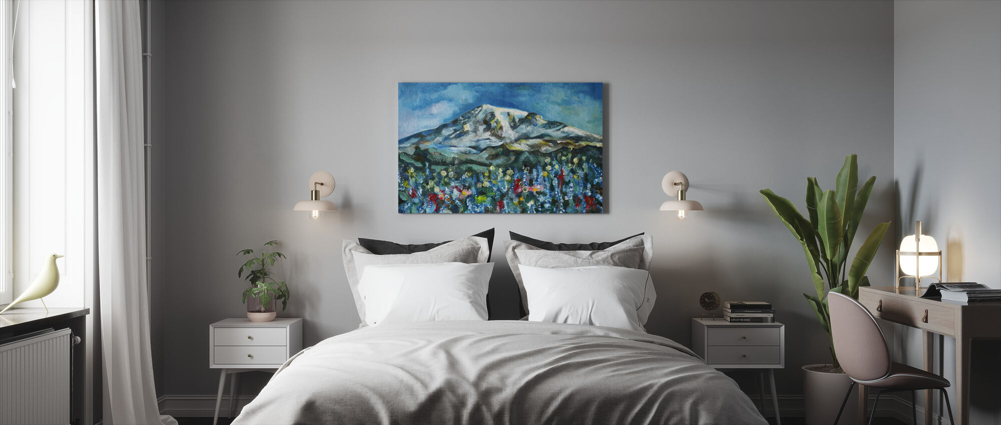 Mount Rainier olieverfschilderij - Canvas print - Slaapkamer