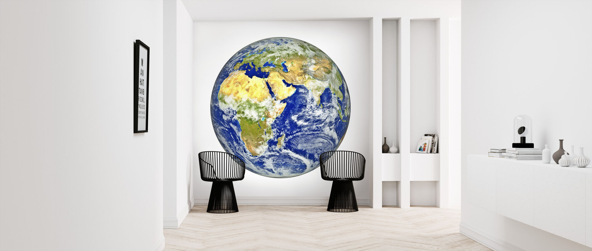 Earth with African and Asian Continent - Wallpaper - Hallway