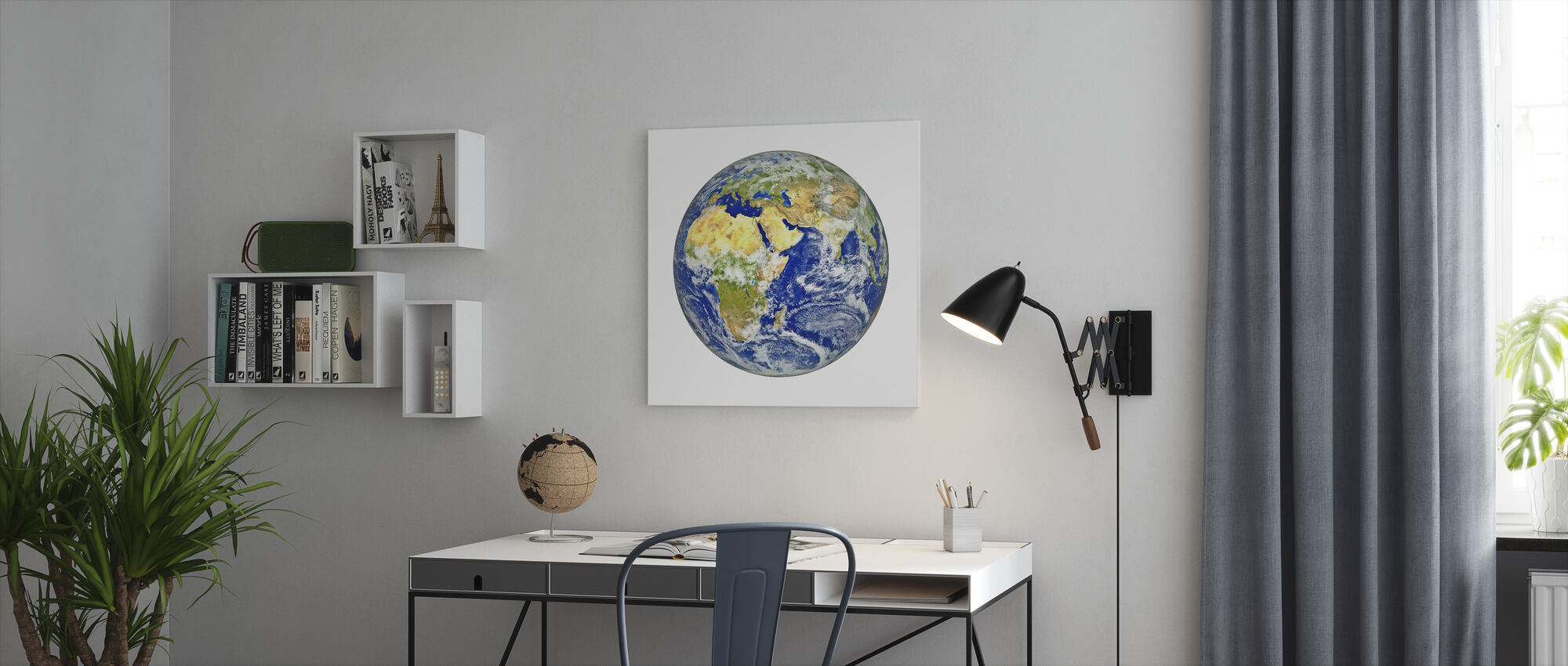 Earth with African and Asian Continent - Canvas print - Office