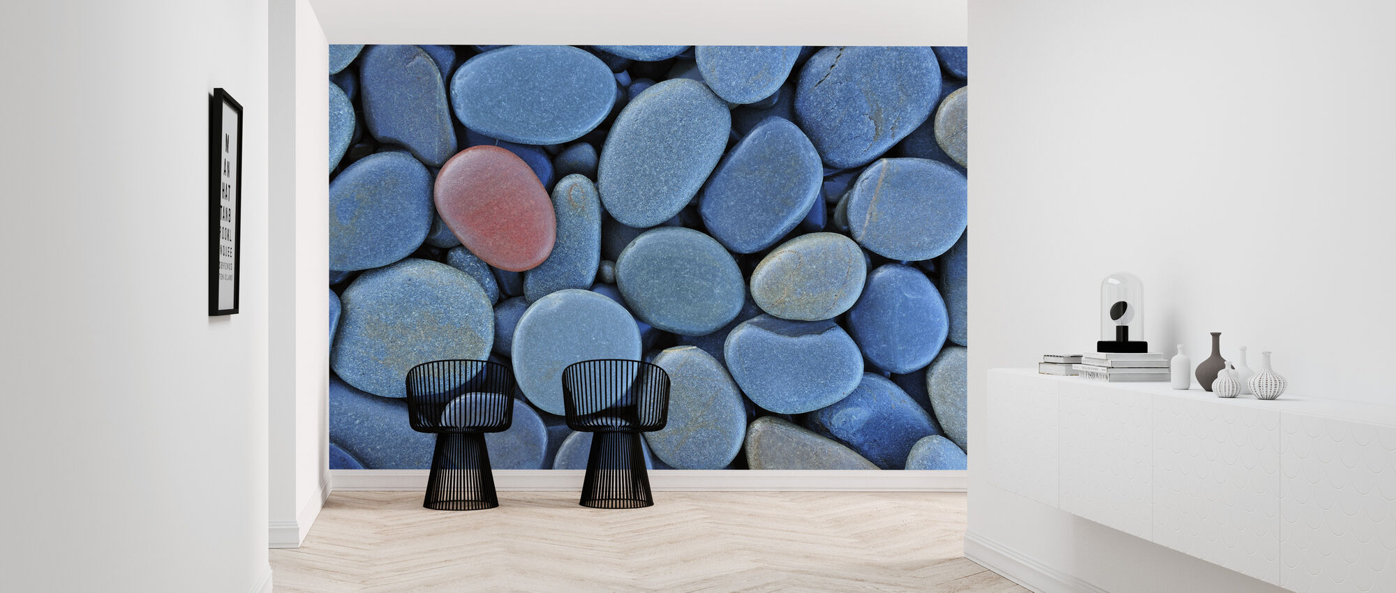 Smooth Blue Stones - Wallpaper - Hallway