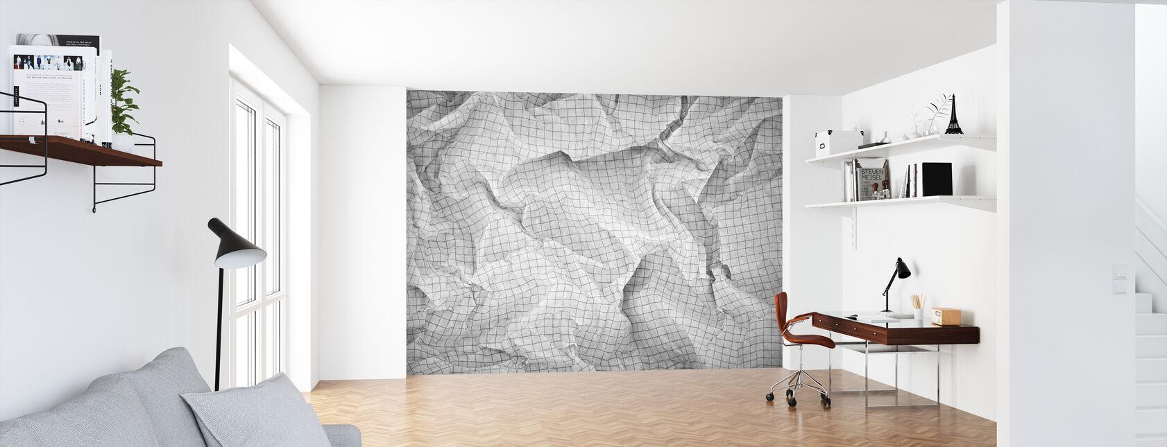 Skrynkligt fyrkantigt papper - Tapet - Kontor