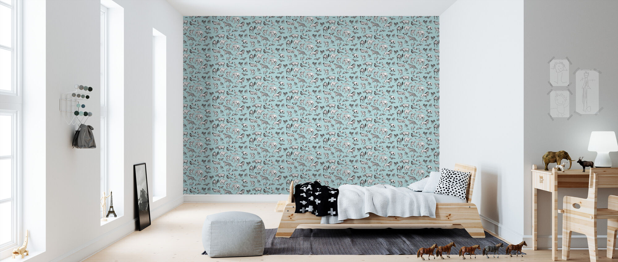 Lots of Animals Blue - Wallpaper - Kids Room