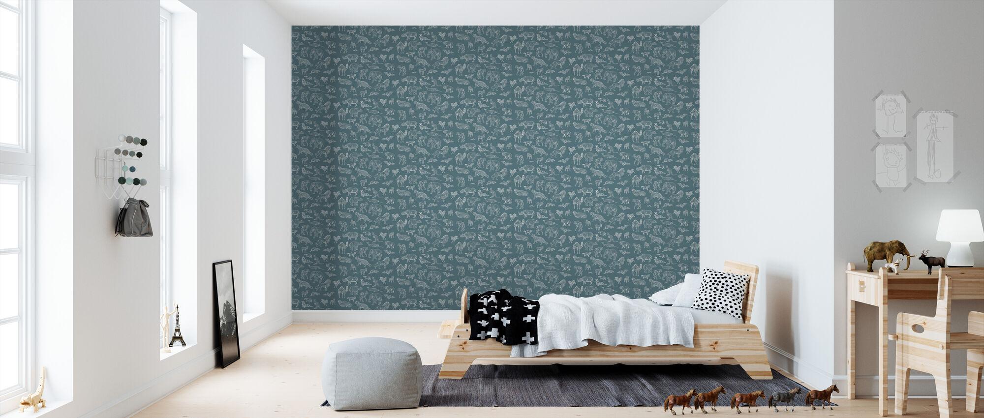 Lots of Animals Night - Wallpaper - Kids Room