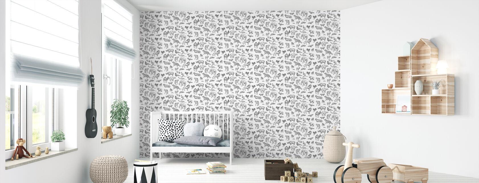 Lots of Animals Old School - Wallpaper - Nursery