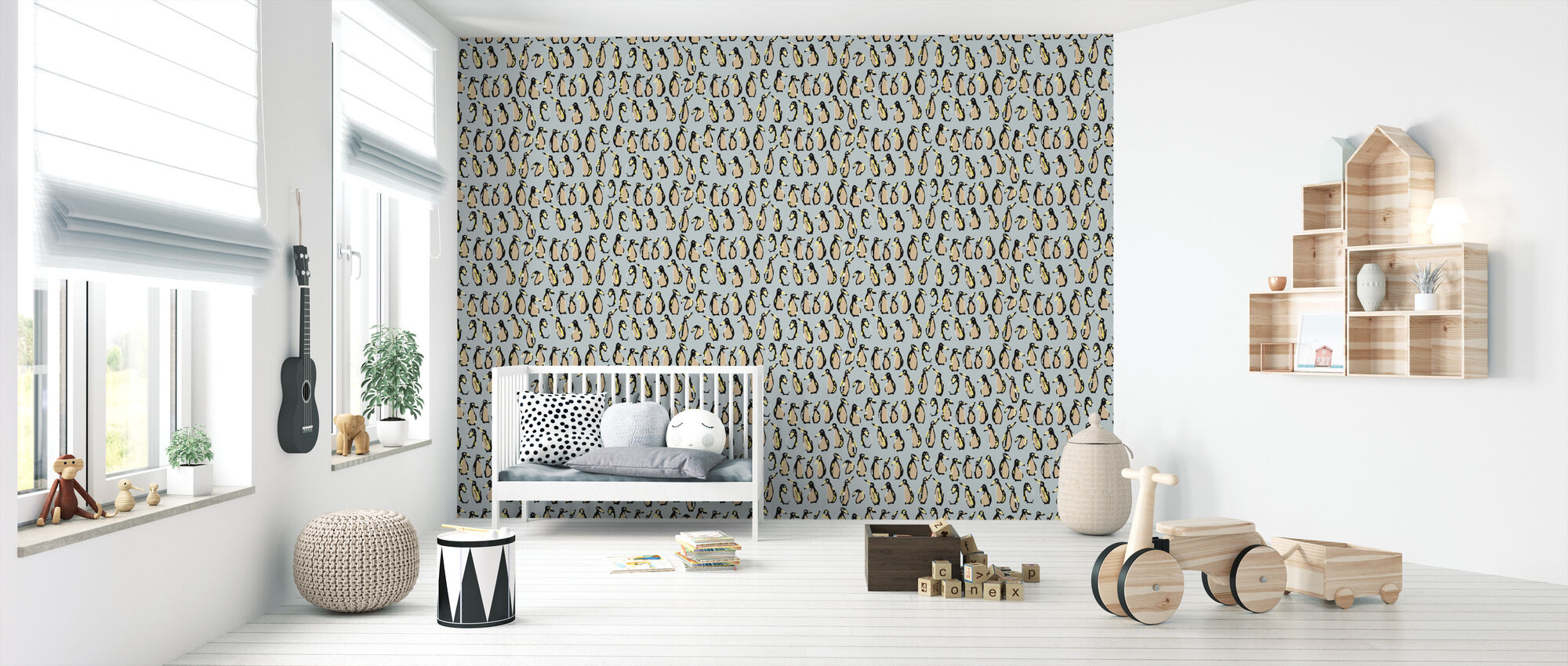 Penguin Apricot - Wallpaper - Nursery