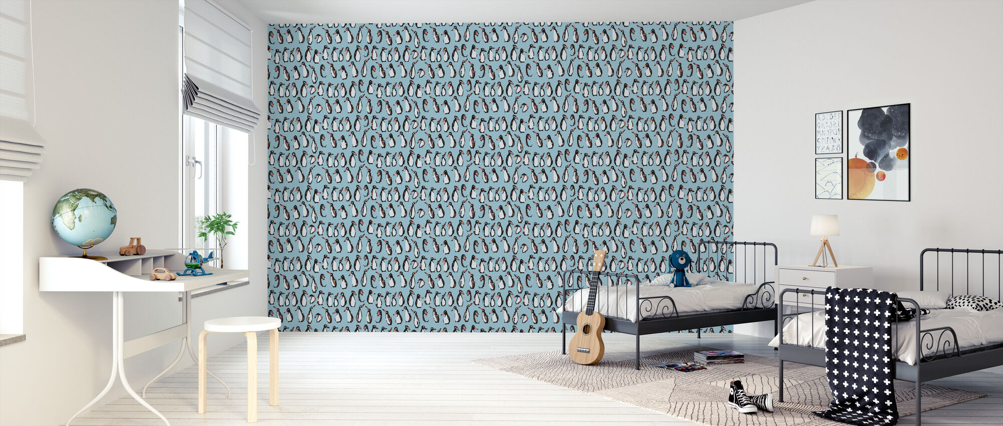 Penguin Blue - Wallpaper - Kids Room