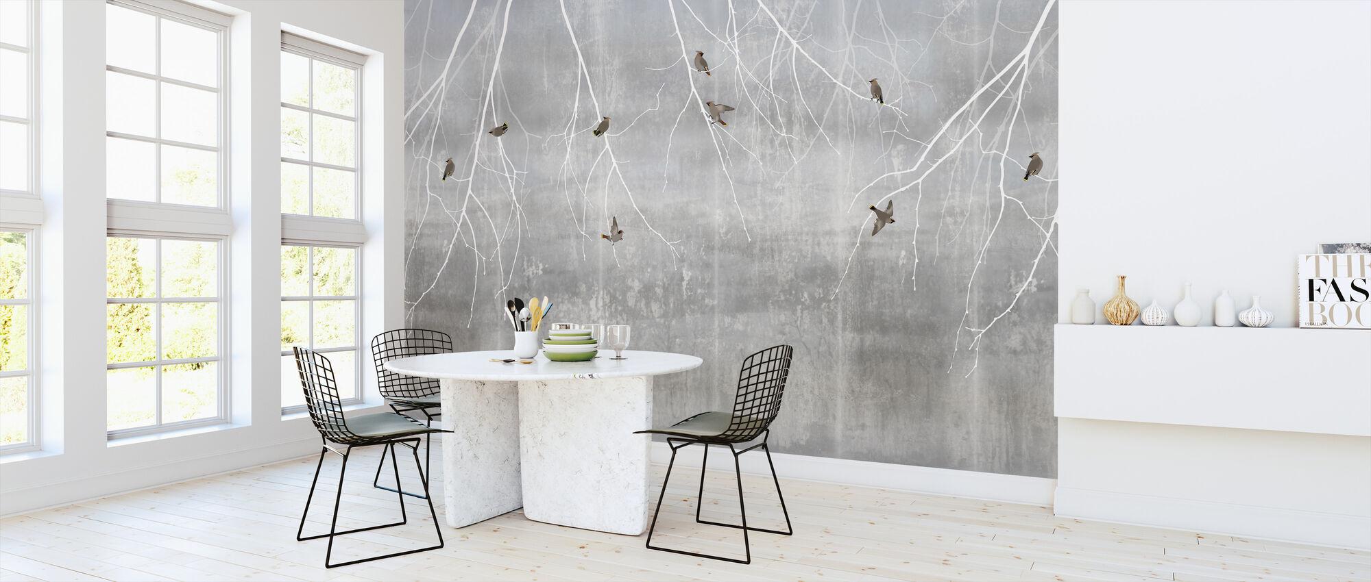 Böhmische Vögel - Blassblau - Tapete - Küchen