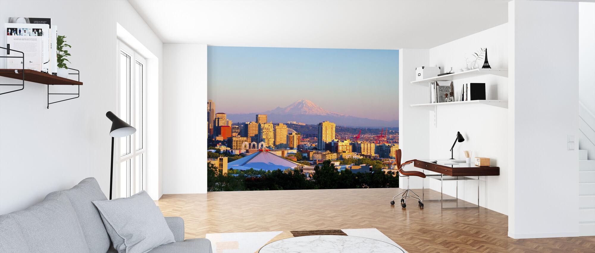 Seattle and Mount Rainier - Wallpaper - Office