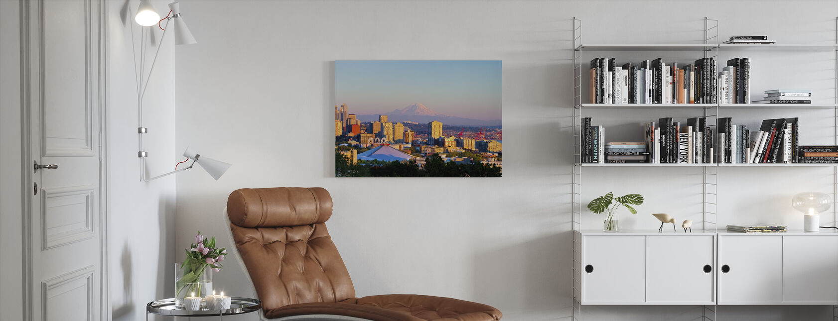 Seattle and Mount Rainier - Canvas print - Living Room