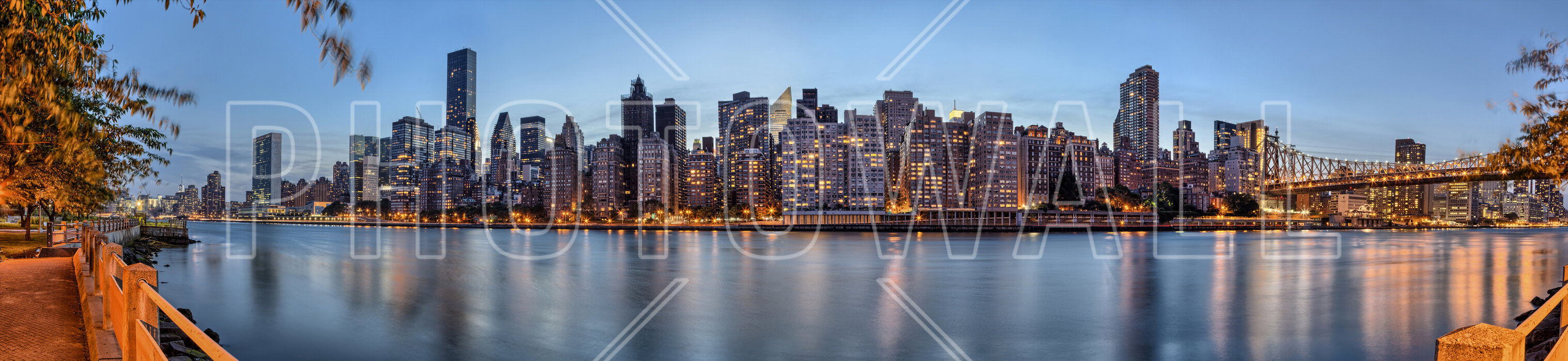 new york panorama at dusk fototapete nach ma photowall. Black Bedroom Furniture Sets. Home Design Ideas