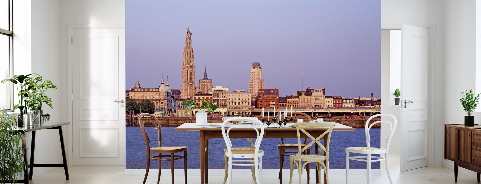 Antwerp Skyline al atardecer - Papel pintado - Cocina