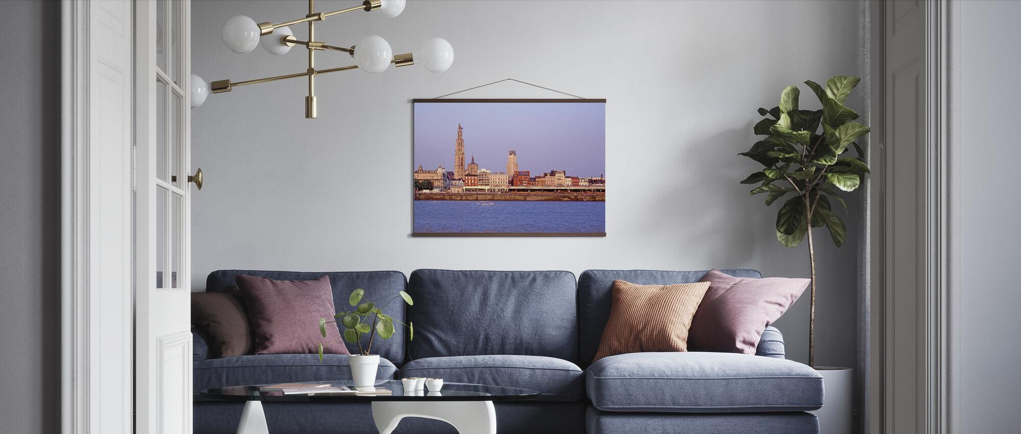Antwerp Skyline at Dusk - Poster - Living Room
