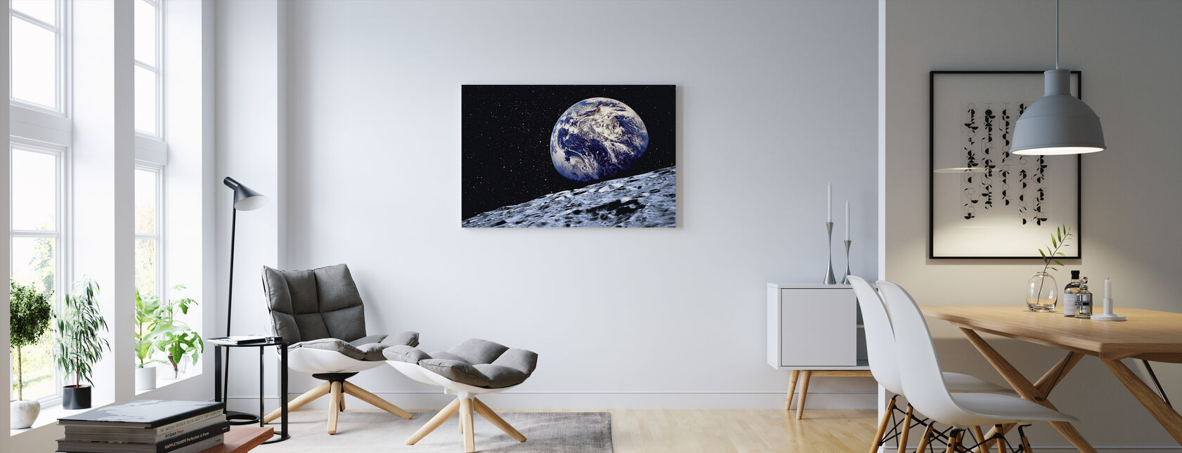 Earth from the Surface of the Moon - Canvas print - Living Room