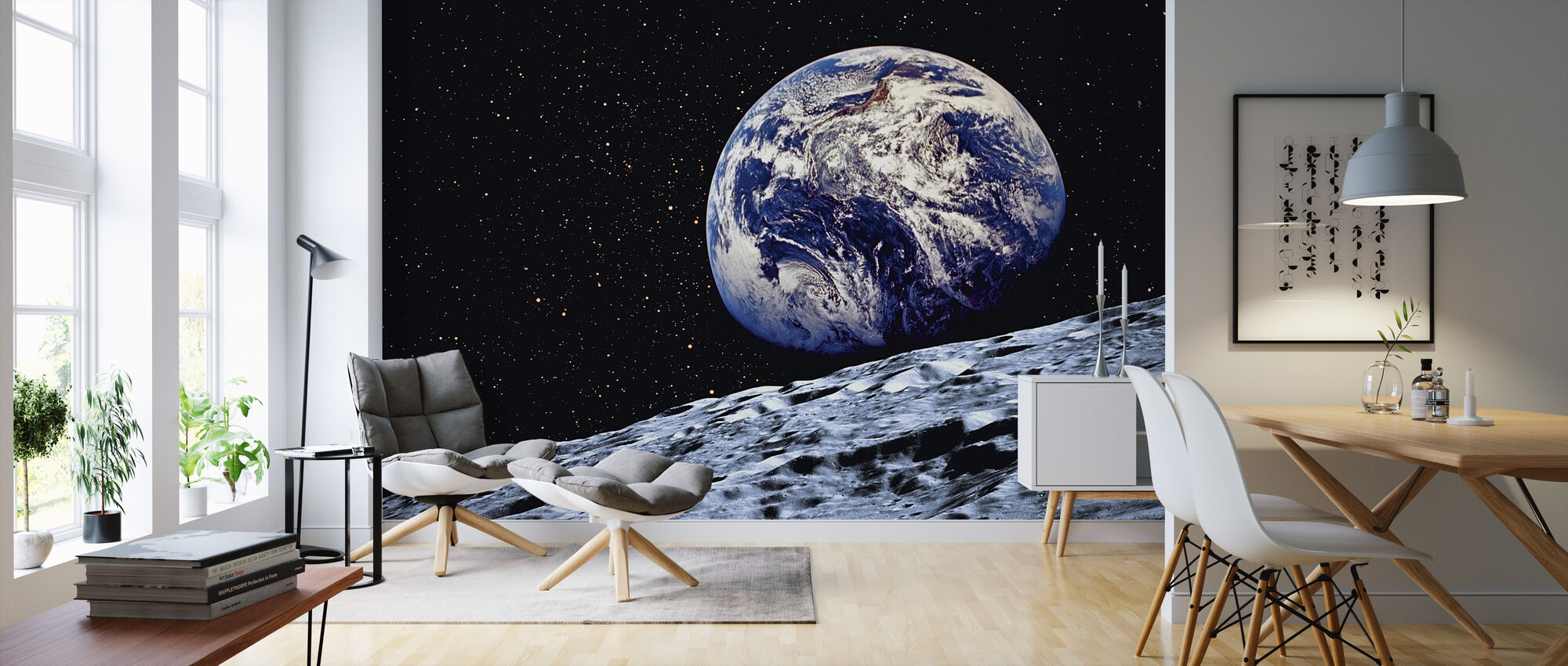 Earth from the Surface of the Moon - Wallpaper - Living Room