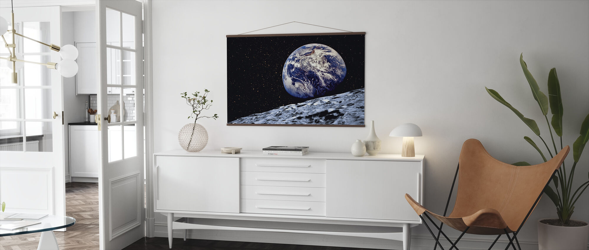 Earth from the Surface of the Moon - Poster - Living Room