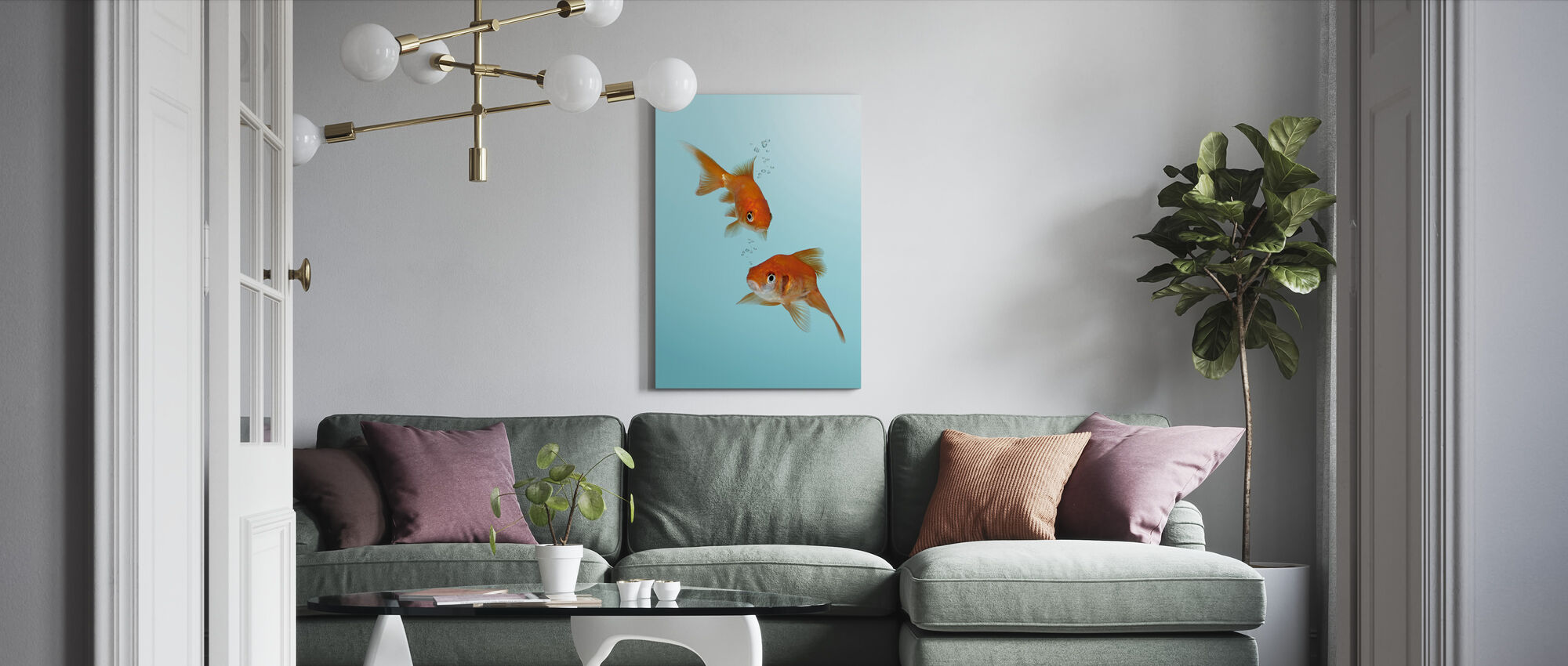 A Pair of Goldfish - Canvas print - Living Room