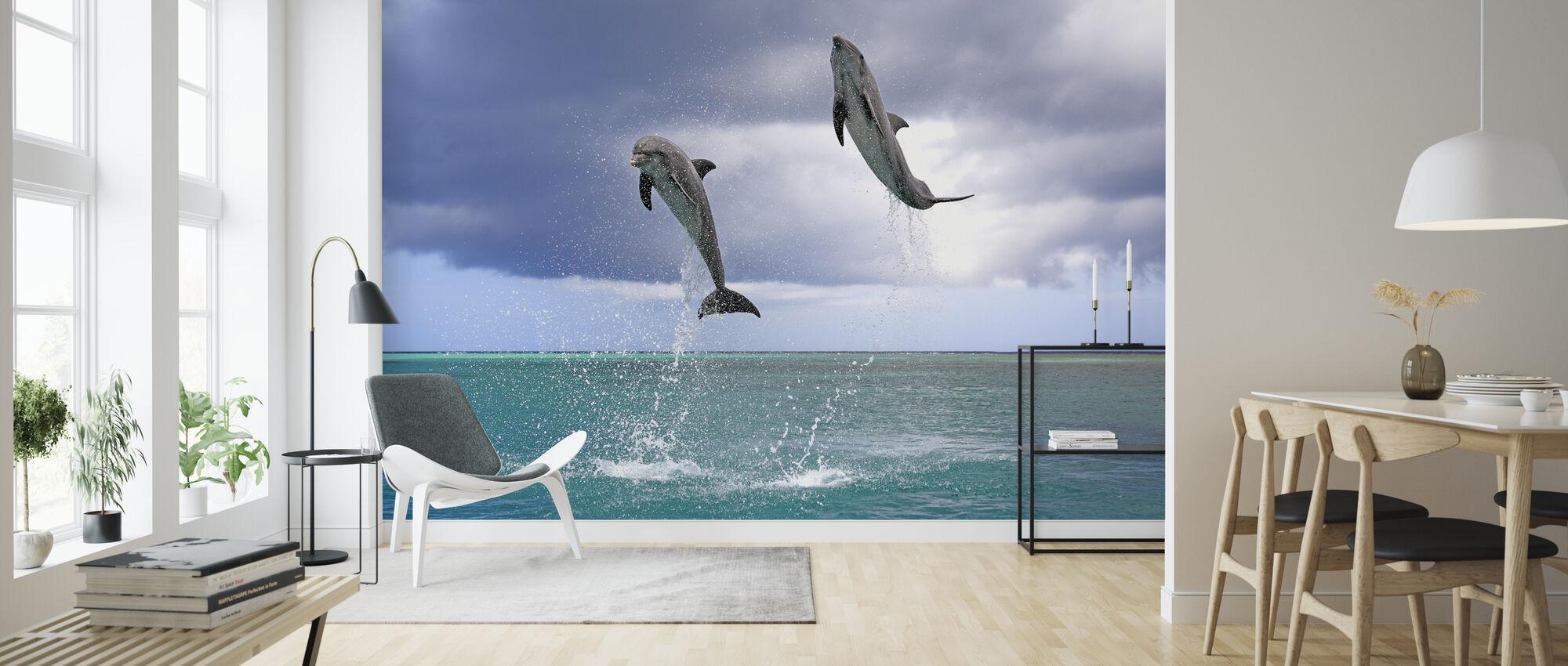 Spring delfiner - Tapet - Stue