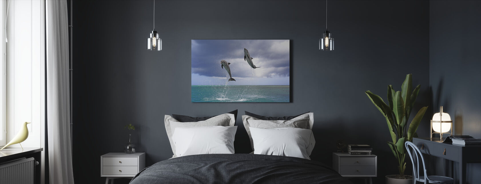 Jumping Dolphins - Canvas print - Bedroom