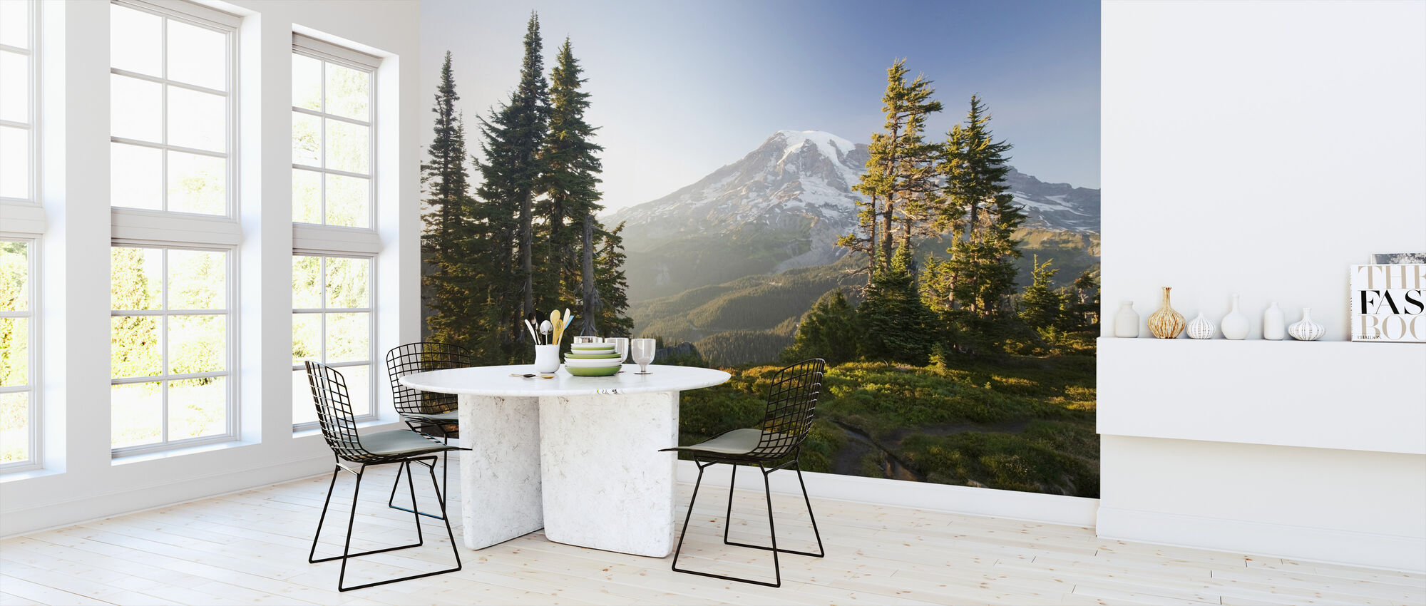 Mount Rainier and Alpine Forest at Sunset - Wallpaper - Kitchen