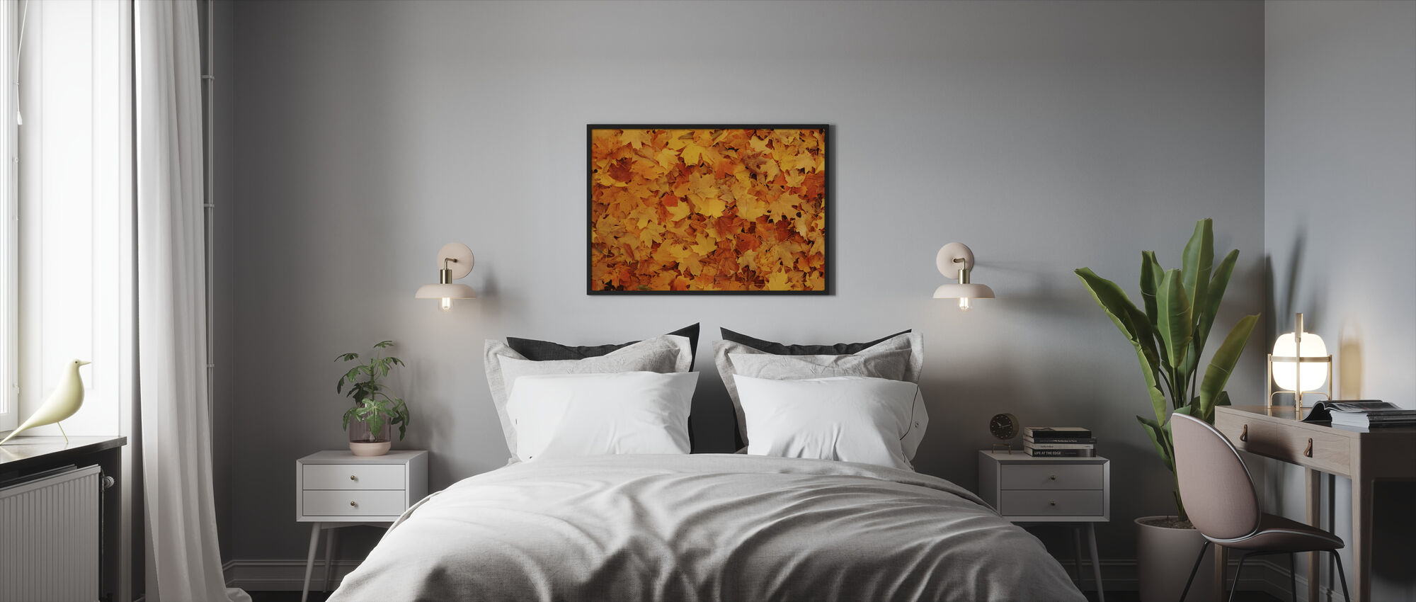 Bed of Autumn Maple Leaves - Framed print - Bedroom