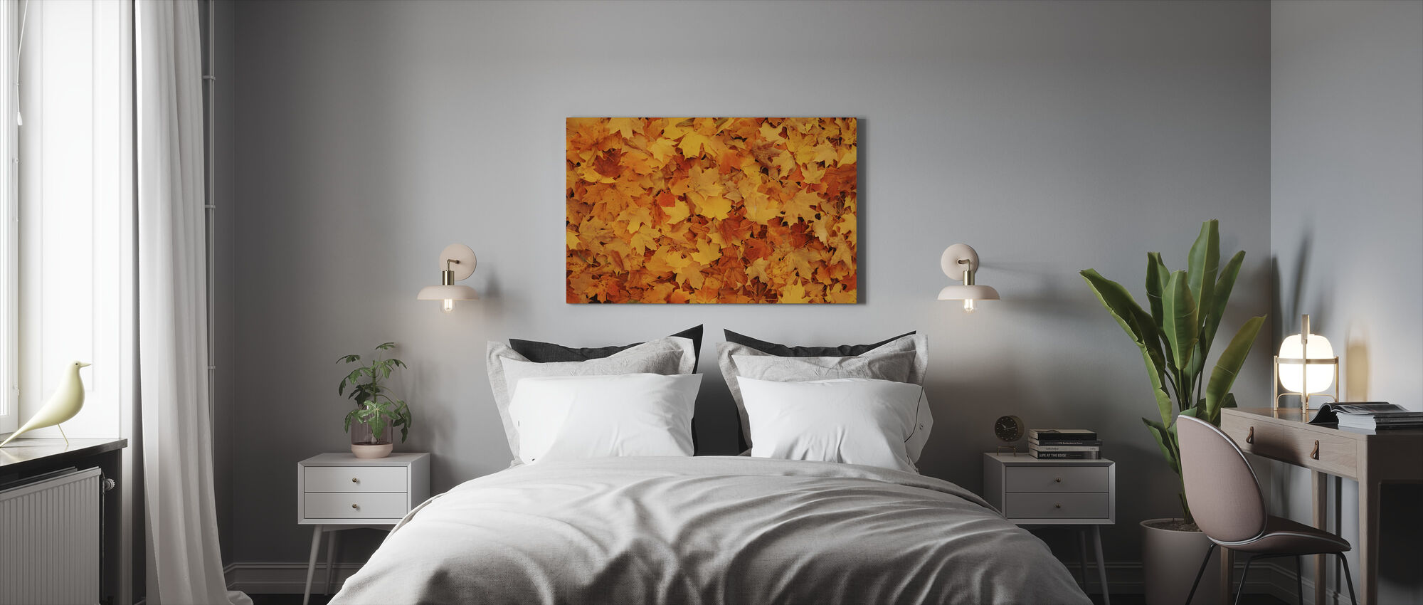 Bed van Herfst Esdoornbladeren - Canvas print - Slaapkamer