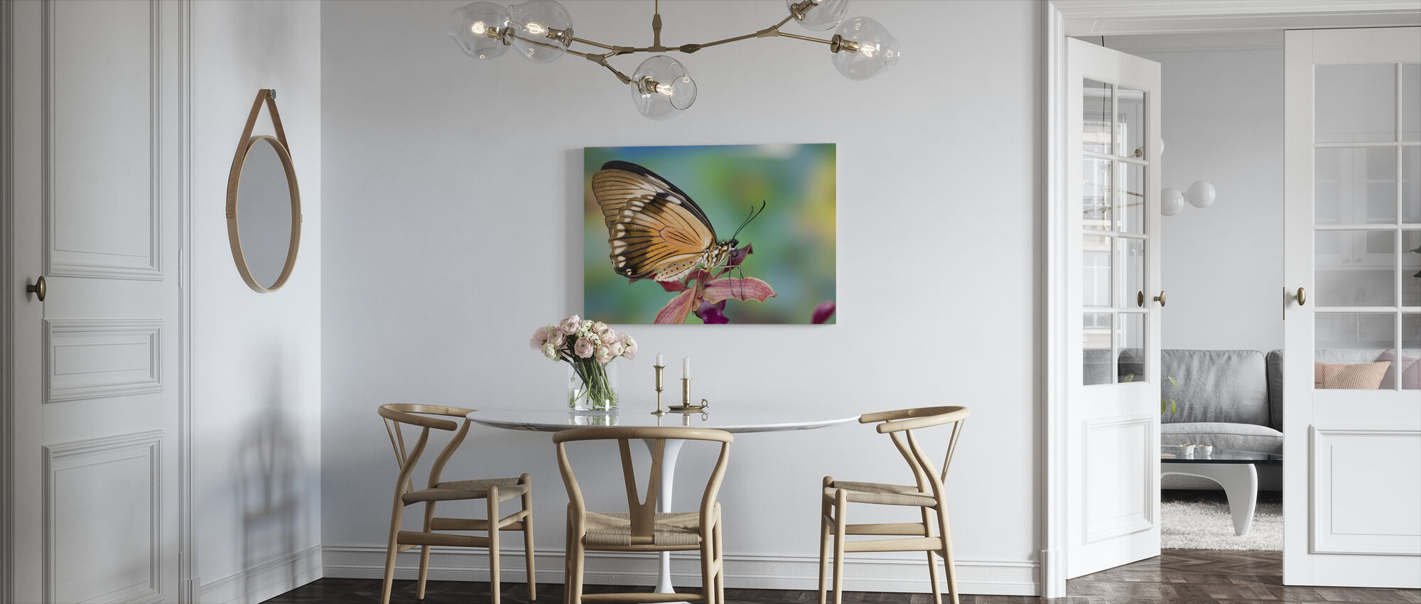Papilio Dardanus Butterfly on Orchid - Canvas print - Kitchen